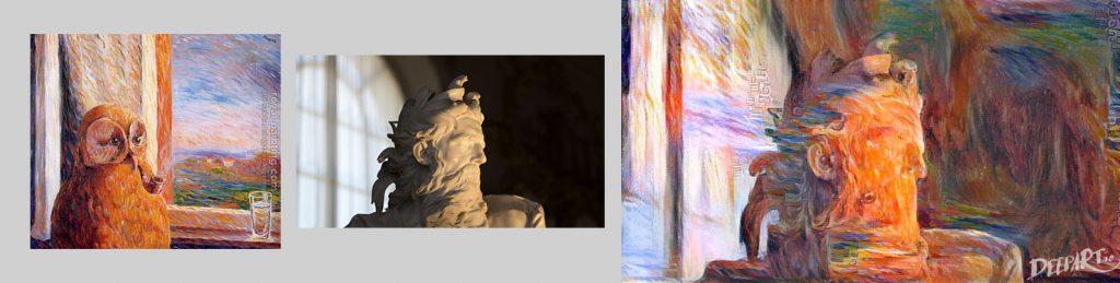 """Wir kombinierten ein Gemälde des Malers """"René Magritte"""" mit einem eigenen Foto. Heraus kam das Ergebnis auf der rechten Seite."""