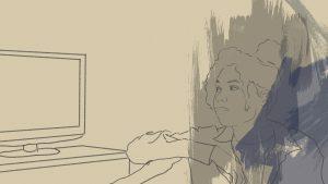 Zeichnung einer Frau, die auf einen Fernseher schaut
