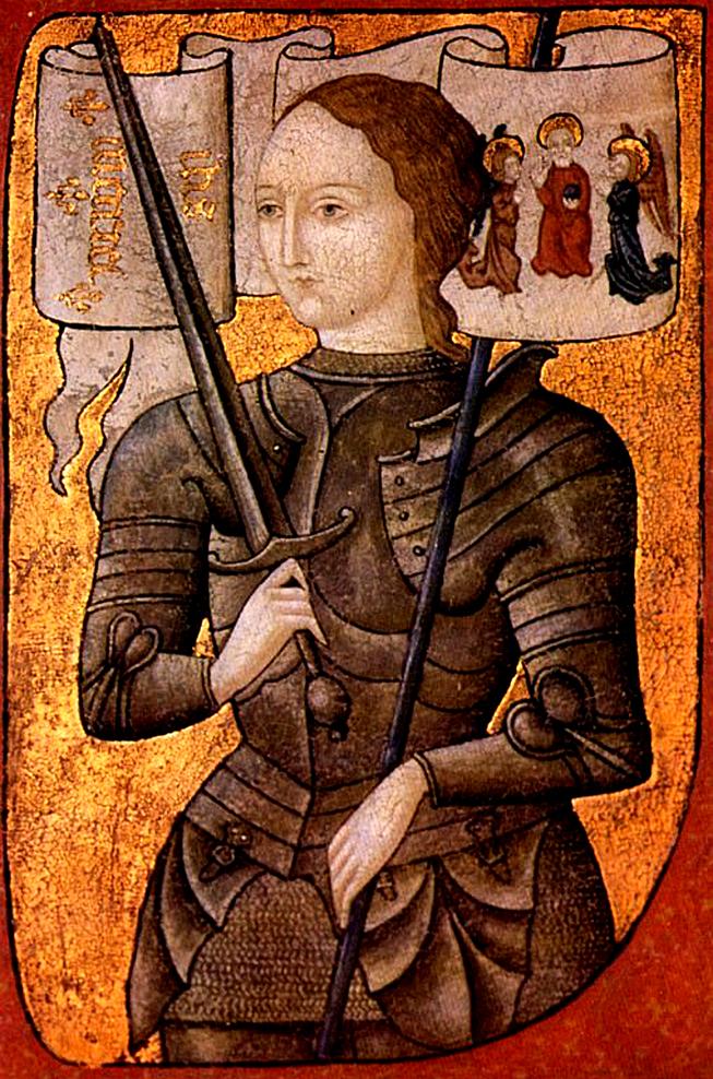 Jeanne d'Arc mit einem Schwert in der Hand