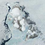 Satellitenbild mit viel Eis und wenig Wasser