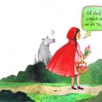 Rotkäppchen steht vor der Tür seiner Oma und stellt einen gefüllten Korb ab. Der Wolf schaut verdutzt.