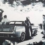 Drei Männer in schwarz weiß gezeichnet stehen um ein Auto herum