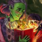 Ein digital gezeichnetes Bild, welches eine freundliche, große Halborkin und eine zierliche Elfin zeigt. Die beiden lesen gemeinsam in einem leuchtenden Buch.