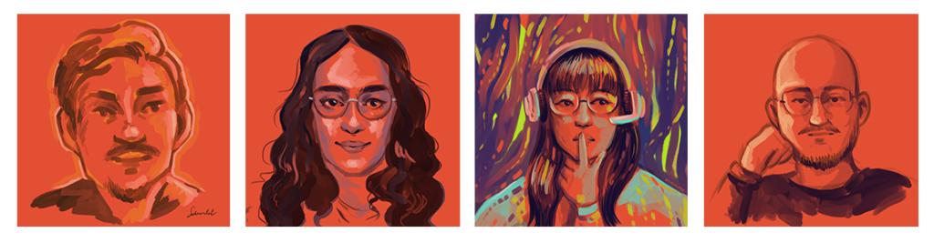 Porträtbeispiele. Man sieht unterschiedliche Menschen illustriert auf einem roten Untergrund. Die Zeichnungen wurde mit wenigen Strichen mit Hilfe eines digitalen Zeichentablets gezeichnet. Einstiegsmaterialien Porträtzeichnungen