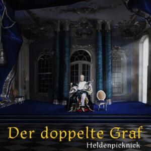 Eine alte Gräfin sitzt auf einem Thron in einem barocken Saal. Alles ist in verschiedenen Blautönen gehalten.