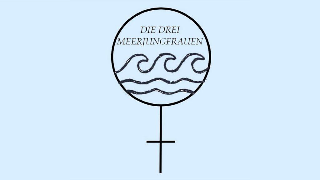 """Das Logo des Podcasts """"Die drei Meerjungfrauen"""" - Das Symbol für """"Frau"""" und darin drei Wellen sowie der Titel des Formats."""