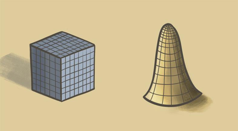 Unterschiedliche Formen die mit einem Raster dargestellt sind. Es sind Zeichnungen. Die digitalen Zeichnungen zeigen eine Würfel und ein organisches gespensterähnliches Objekt. Formen sind in Volumen zu denken beim Zeichnen. Wie beeinflusst die Form Licht und umgekehrt?