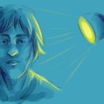Ein Portrait einer männlich gelesenen Person. Die Person wird von der Seite mit einem warmen gelben Licht beschienen. Es handelt sich um eine Illustration, die digital angefertigt wurde. Durch das Licht und die Schatten ergeben sich Formen und Kontraste.