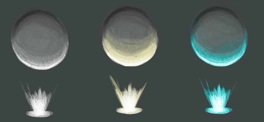 Farbtemperatur. Die drei Kugeln werden jeweils gleich stark beschienen, aber die Lichtquellen haben unterschiedliche Farbtemperaturen. Man hat kaltes, weißes, wärmeres, gelbes Licht und eine kühle, blaugrüne oder türkise Lichtquelle. Das Licht beeinflusst die Wirkung des Objektes, was auch beim Zeichnen beachtet werden sollte.