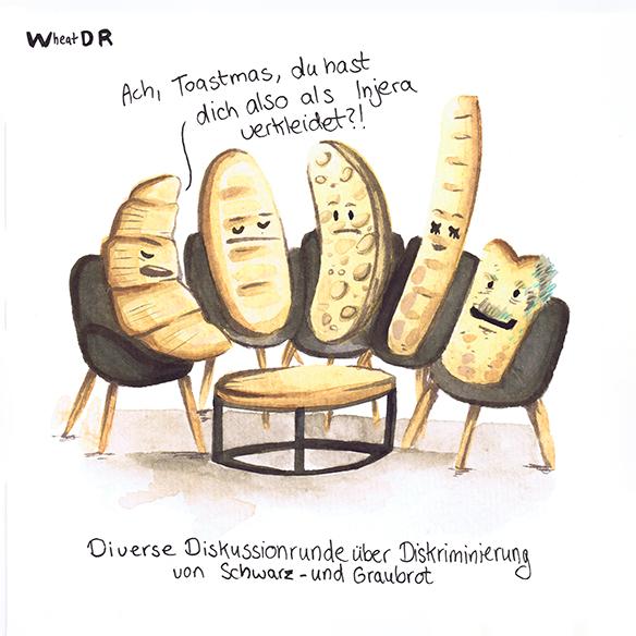 Eine Gruppe von fünf weißen Toastbroten in einer Talkshow im WDR. Es ist ein Symbolbild für die Rassismuskritik der Sendung DIe Letzte Instanz und enthält unter anderem eine Karikatur von Thomas Gottschalk und Janine Kunze.