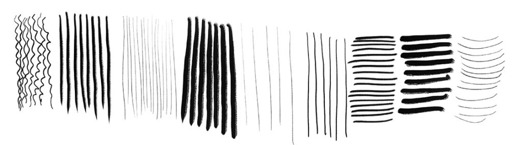 Verschiedene Texturen dargestellt in Streifen. Die Streifen haben unterschiedliche Strichstärken und Abstände.