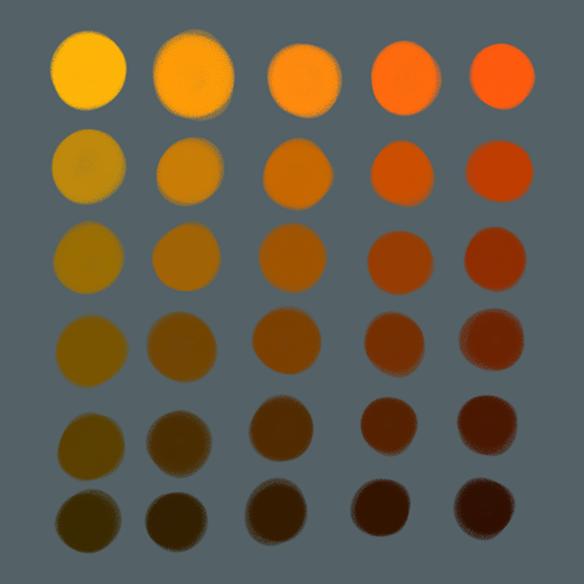 eine Farbtabelle ist abgebildet. Von links nach rechts werden die Farben von einem kühlen orange zu einem warmen orange abgebildet von oben nach unten werden sie nach Helligkeitsstufen absteigend abgebildet.