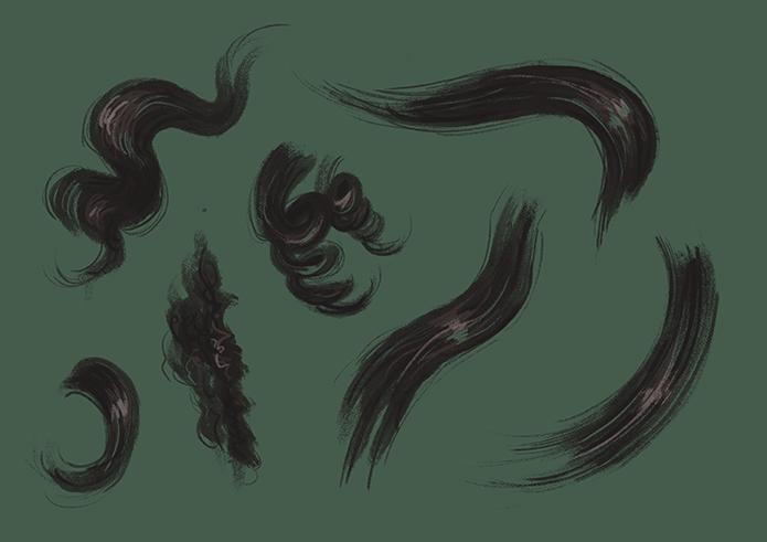 Verschiedene Haartexturen von schwarzem Haar. Glatt, kraus, kinky, curly, lockig, wellig, alles ist dabei.