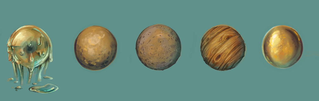 Texturbeispiele. Eine Kugel in unterschiedlichen Texturen:  Gold, Holz, Stein, Messing und Schleim.