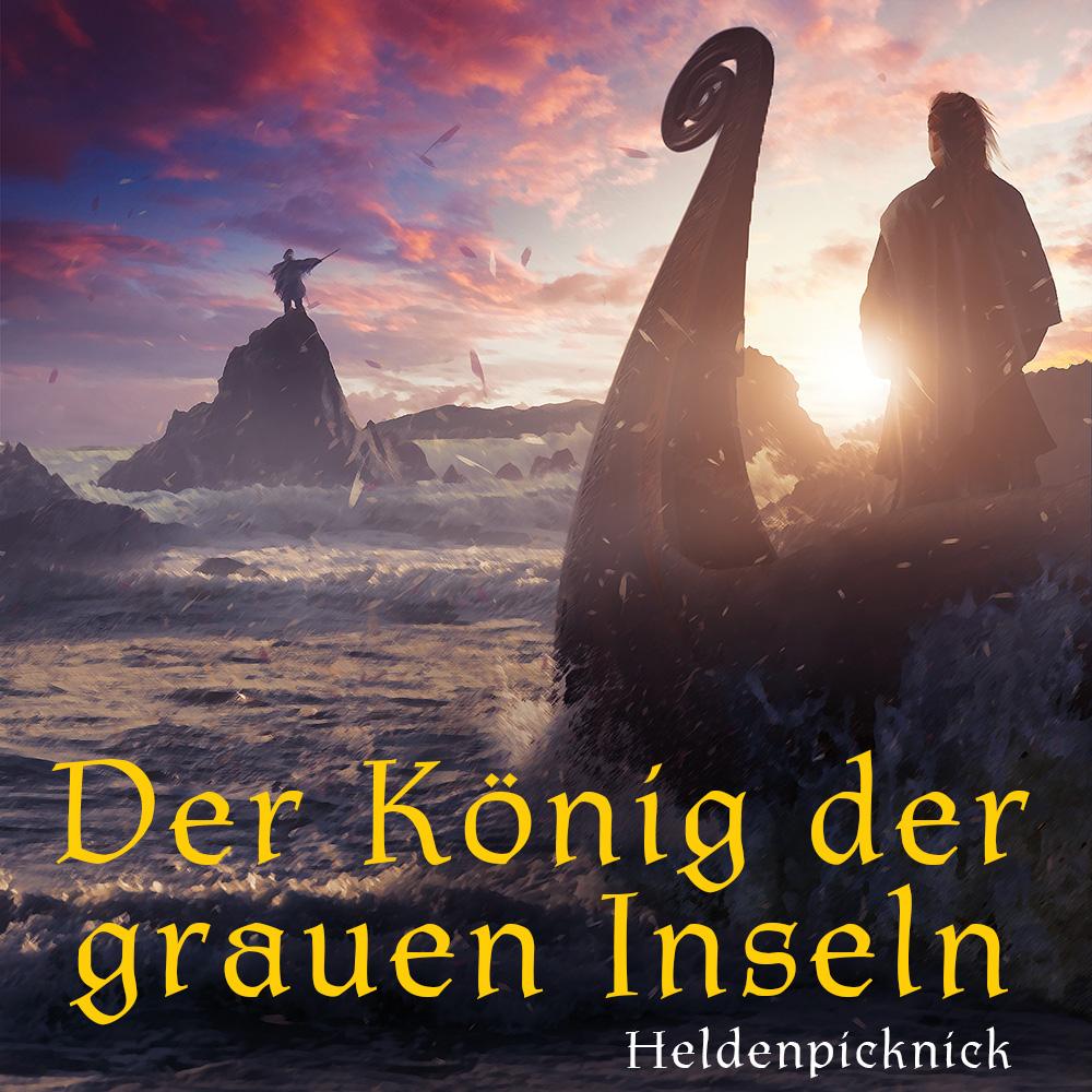 Eine Frau in der Tracht der Wikinger mit roten Haaren steht auf einem Drachenboot, das auf einer stürmischen See unter einem Sonnenuntergang auf eine karge Kette von Felseninseln zufährt. Auf einer der Inseln steht eine undeutliche Gestalt und hebt ein Schwert gen Himmel. Unten prangt der Titel der Staffel: Der König der grauen Inseln.