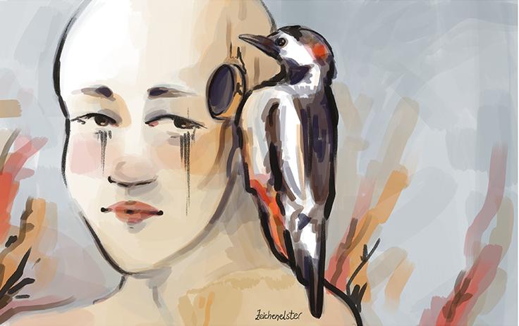 Eine digitale Illustration von einer Person mit einem Loch im Kopf und einem Specht, der auf der Schulter sitzt.