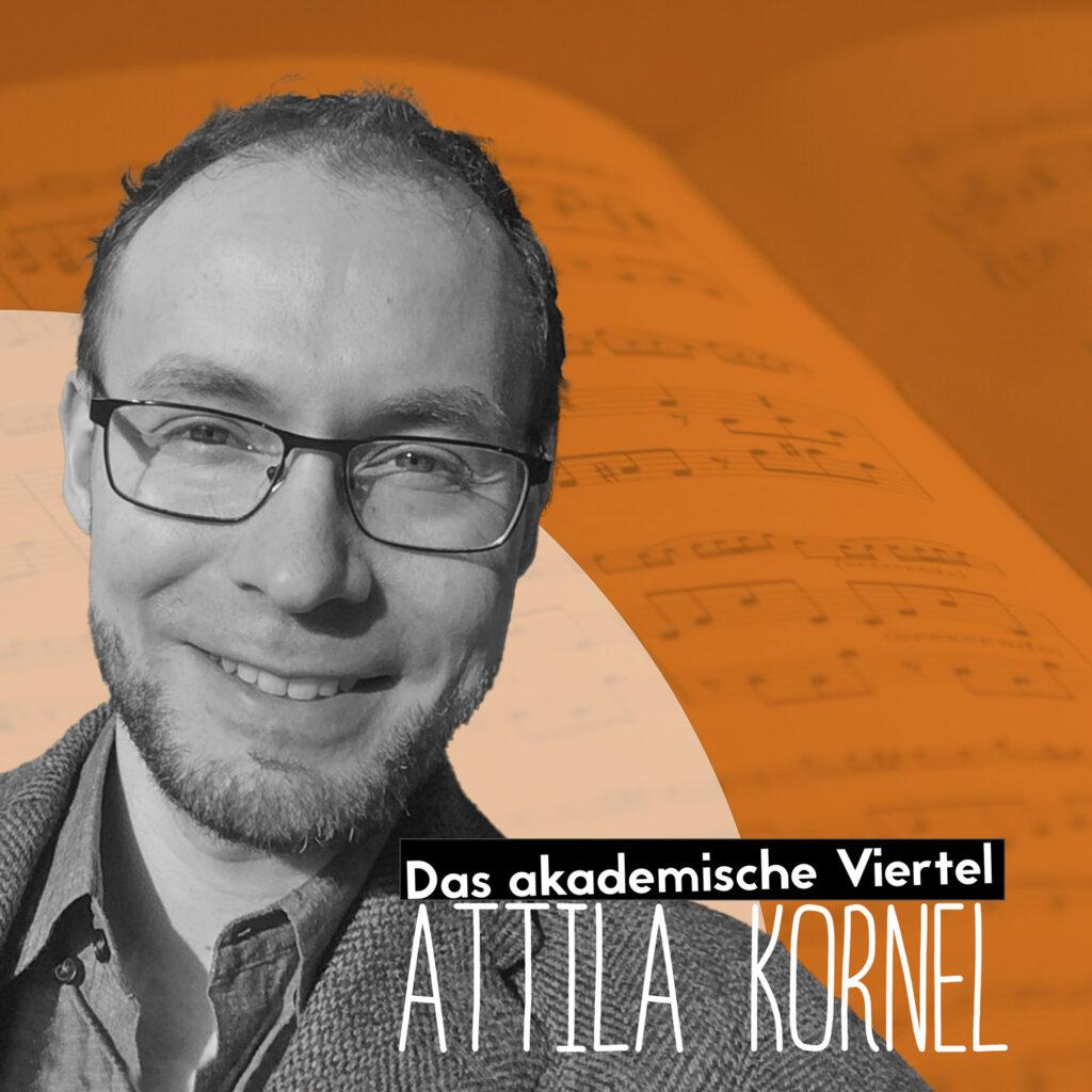 Portrait von Attila Kunnel vor einem braunen Hintergrund, in dem blass Noten zu erkennen sind