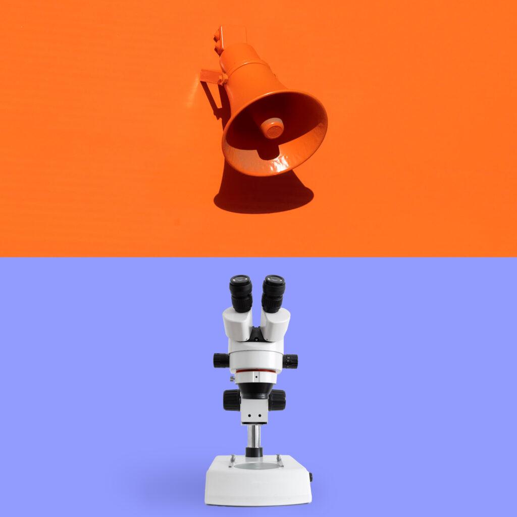Ein zweigeteiltes Bild. Oben eine oranene Sirene, unten ein Mikroskop